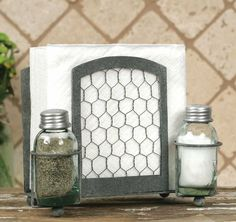"""8¼"""" wide and 6½"""" tall. Includes two Mason jar salt and pepper shakers."""