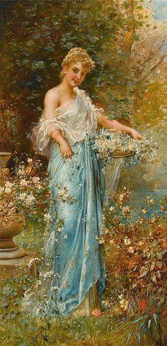 "In the garden of my thoughts - Art by Hans Zatzka - Board ""Art - Women in Blue"" - Vintage Pictures, Art Pictures, Michael Lang, Vintage Art, Vintage Ladies, Victorian Art, Beauty Art, Woman Painting, Beautiful Paintings"