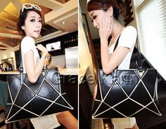 FAST SHIP Black Retro Vintage Lady PU Leather Tote Handbag Shoulder Shopping Bag #GraceKarin #Handbag