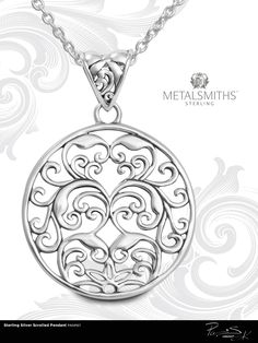 Sterling Silver Scrolled Pendant by Metalsmith