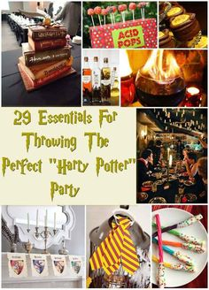 "If you're ever throwing a Harry Potter Movie Marathon, this post has so many great ideas! 29 Essentials For Throwing The Perfect ""Harry Potter"" Party Harry Potter Marathon, Harry Potter Motto Party, Harry Potter Halloween Party, Harry Potter Christmas, Harry Potter Birthday, Harry Potter Party Games, Harry Potter Thema, Cumpleaños Harry Potter, Harry Potter Wedding"