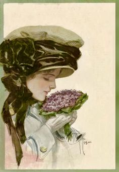 Lady With Violets (1910) by Harrison Fisher for The Ladies' Home Journal,
