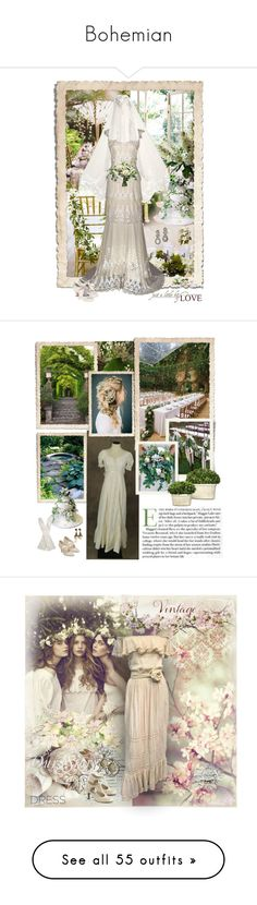 """""""Bohemian"""" by dezaval ❤ liked on Polyvore featuring Nearly Natural, Ultimate, Monsoon, country, Chanel, Menbur, Mon Cheri, vintage, French Country and Funtasma"""