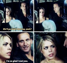 Rose Tyler and The Ninth Doctor. Doctor Who, Ninth Doctor, Rose And The Doctor, Billie Piper, Rose Tyler, Christopher Eccleston, Out Of Touch, Fandoms, Don't Blink