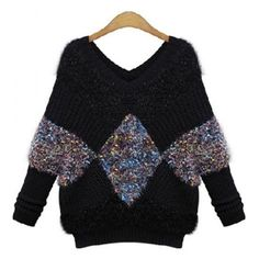$22.05 Stylish V-Neck Color Block Knitted Pullover Sweater For Women