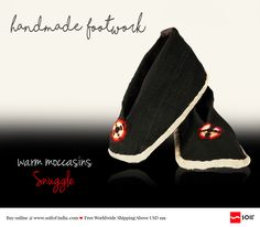 #soilofindia Ladakhi Thigma #Pabus In Recycled Wool Uppers Snuggle Ideal to snuggle into at home or even work for their warming comfort. Hand stitched and hand dyed in recycled sheep wool, these eco-loving moccasins defy the use of fuel, power and machine.Step out. Carbon free. http://soilofindia.com/ladakhi-thigma-pabus-snuggle.html#