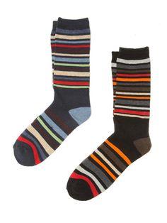 Multi Stripe Knit Socks (2 Pack) by Dartmoor on Gilt.com