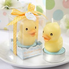 Your baby shower guests will feel like lucky ducks when you give them these rubber ducky candles.