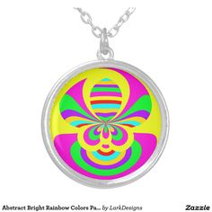 Abstract Bright Rainbow Colors Pattern Round Pendant Necklace