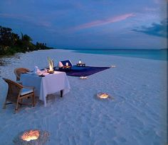 "Romantic dinner on the beach with a romantic beach blanket for having ""fun"" after!! lol ;)"