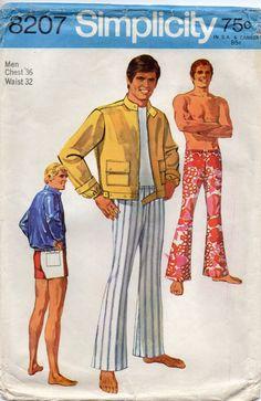 Simplicity 8207 1960s Mens Drawstring PANTS Shorts and motorcycle jacket vintage sewing pattern by mbchills