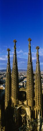 High Section View of Towers of a Basilica, Sagrada Familia, Barcelona, Catalonia, Spain Wall Decal at AllPosters.com