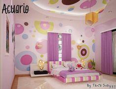dormitorio juvenil, tonos lilas