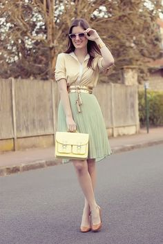 6 ways to wear a metallic belt in spring outfits - Find more ideas at women-outfits.com