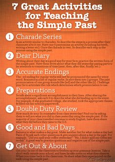 HI-RES POSTER: 7 Great Activities for Teaching the Simple Past. Re-pin if you ❤…