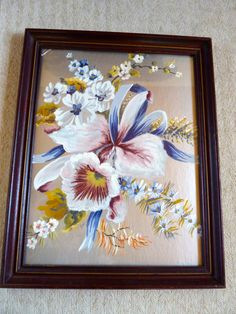 Art Deco Orchid Painting on Silver Paper by BonniesVintageAttic