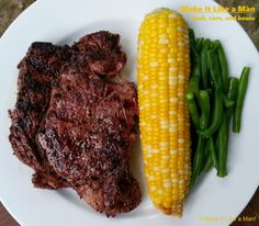 Beef Steak Dinner with Corncob & String beans