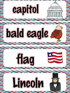 American Symbols Monthly Vocabulary Cards