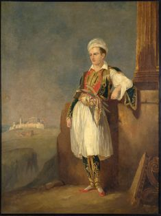 // Portait of Lord Byron dressed in Greek costume and with the Acropolis of Athens in the background. Oil painting, circa in The Benaki Museum, Athens, Greece. Lord Byron, Frankenstein, Ancient Greek Costumes, Benaki Museum, Athens Acropolis, Athens Greece, Oriental, Google Art Project, Artist Brush