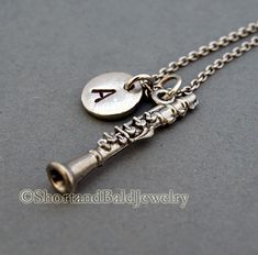 Clarinet necklace initial necklace initial by ShortandBaldJewelry, $19.75