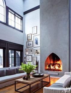 And, of course, a fireplace that goes all the way to the ceiling.