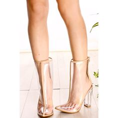 Nude transparent pointed toe back zipper chunky high heel boots (€30) ❤ liked on Polyvore featuring shoes, boots, nude, back zipper boots, transparent boots, high heel boots, nude high heel shoes and pointed-toe boots