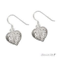 2bef780de 1 Paar Ohrhänger Herz Romantik groß 925 Silber im weißen Organza Beutel  EDEL. Heart EarringsWire EarringsSterling Silver EarringsWire JewelrySilver  ...