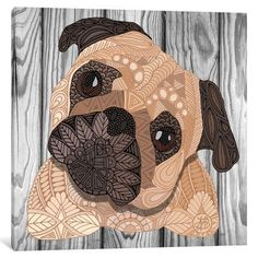 """East Urban Home 'Pug Hug' by Angelika Parker Graphic Art on Wrapped Canvas Size: 37"""" H x 37"""" W x 1.5"""" D"""