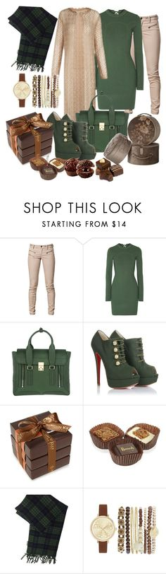 """hijab and chocolate"" by prettyangel-1 ❤ liked on Polyvore featuring SELECTED, 3.1 Phillip Lim, Christian Louboutin, John Kelly Chocolates, Harrods, Godiva, Acne Studios and Jessica Carlyle"