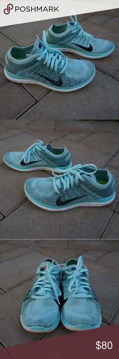 Nike Flyknit 4.0 Teal/Blue Good condition, used, great for training or leisure Nike Shoes Athletic Shoes