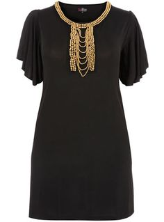 Love the detail.   Little black dress with gold accents #plus_size_fashion