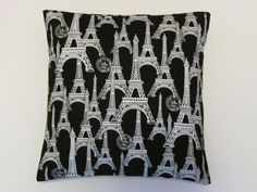 ~NEW~ Made to Order *Black & White Eiffel Tower* Handmade Throw Pillow Cover