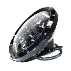 Turbo 7 Inch Jeep Wrangler Round Black Led Headlights with DRL Hi/lo Beam