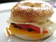 It doesn't matter the time of they day; a fresh New York bagel with eggs, tomato and melted cheese is ALWAYS good!!!