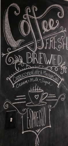 Chalkboard coffee kitchen chalkboard lettering font design chalk sign