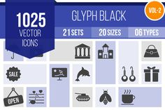 1025 Glyph Icons by IconBunny on @creativemarket
