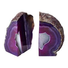 Large Geode Bookends Purple Set of 2 Bookends found on Polyvore featuring home, home decor, small item storage, decorative accessories, geode bookends, purple home accessories and purple home decor