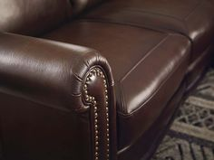 The Hamilton Leather Collection by Bassett Furniture features Antique Brass nail head detail and hand rubbed leather. Leather Furniture, Leather Chairs, Hamilton Sofa, Tommy Bahama Beach Chair, Leather Sectional, Sectional Sofa, Used Chairs, Couch Set, Saddle Leather