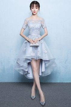 A-Line Off Shoulder Long Tail Homecoming Dress With Appliques TR0214