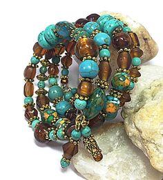 Turquoise Bracelet - Boho Bracelet - Turquoise & Brown Bracelet - Bohemian Bracelet - Memory Wire Bracelet - Hippie Jewelry TDC300