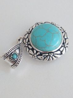 Silver turquoise pendant 3 cm charm findings by ROYALcraftPT