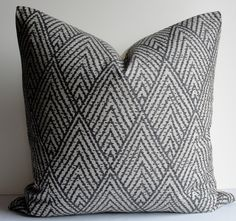 Decorative Pillow Cover - Designer throw pillow - Charcoal gray on gray - geometric - chevron - Tahitian Stitch by WilmaLong on Etsy https://www.etsy.com/listing/163433930/decorative-pillow-cover-designer-throw