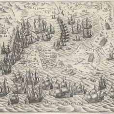 Zeeslag voor Cadiz, 1596, Bartholomeus Willemsz. Dolendo, 1600 - 1601 - Rijksmuseum