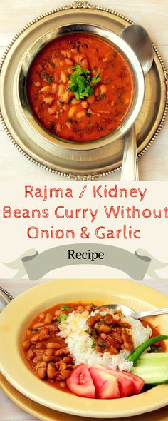 Punjabi Rajma Without Onion & Garlic A Recipe for Rajma / Red Kidney Bean Curry without onion and garlic A Navratri special. A jain Recipe for Rajma Egg Free Recipes, Garlic Recipes, Side Dish Recipes, Veggie Recipes, Vegetarian Recipes, Dinner Recipes, Diabetic Recipes, Yummy Recipes, Dinner Ideas