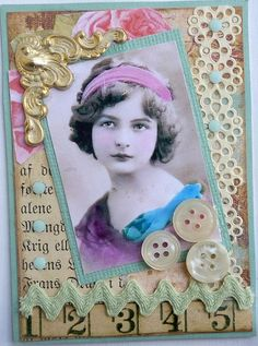 ATC.  I love how the photo is on a slant but everything else--the ornate photo corner, different border elements, dots--are straight and parallel to the edges.   The photo itself is a bit crooked and therefore straightened out which makes the whole thing work wonderfully.