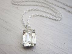 Clear Crystal Necklace Crystal Bridal Jewelry by GoingHoLLyWood, $21.00