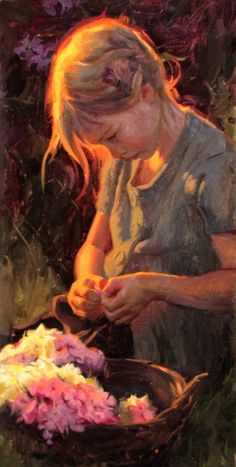 """""""Summer Blossoms"""" (oil) by Albin Veselka, an artist from Rexburg Idaho. """"There is something of the divine that comes through the work of one who has mastered his mode of expression & who has something good to say. Be it simple or profound, intellectual or spiritual, when that message comes through & awakens something within the receiver that improves his or her life; that, I believe, is the higher purpose of art. That's what I strive for."""" / http://albinveselka.com"""