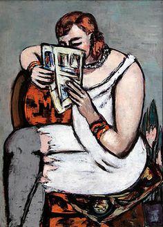 Reading and Art: Beckmann_Max :Femme dans la chemise blanche lisant 1947