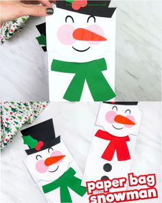 Make this cute paper bag snowman craft for kids. It's a fun Christmas or winter craft DIY. It's super easy to make thanks to our free printable template. Great for preschool, pre-K and kindergarten. # Easy Crafts for gifts Paper Bag Snowman Craft For Kids Winter Activities For Kids, Easy Crafts For Kids, Christmas Crafts For Kids, Craft Activities, Christmas Fun, Craft Kids, Christmas Activities, Christmas Wrapping, Kids Diy