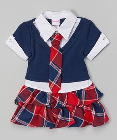 Red Plaid Button-Up Dress - Toddler & Girls